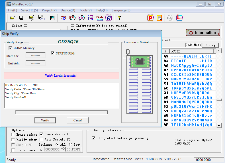 Screenshot of firmware being dumped from Barbie's flash memory.
