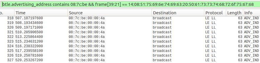 Figure 1: Wireshark capturing Bluetooth traffic with wardriving filter