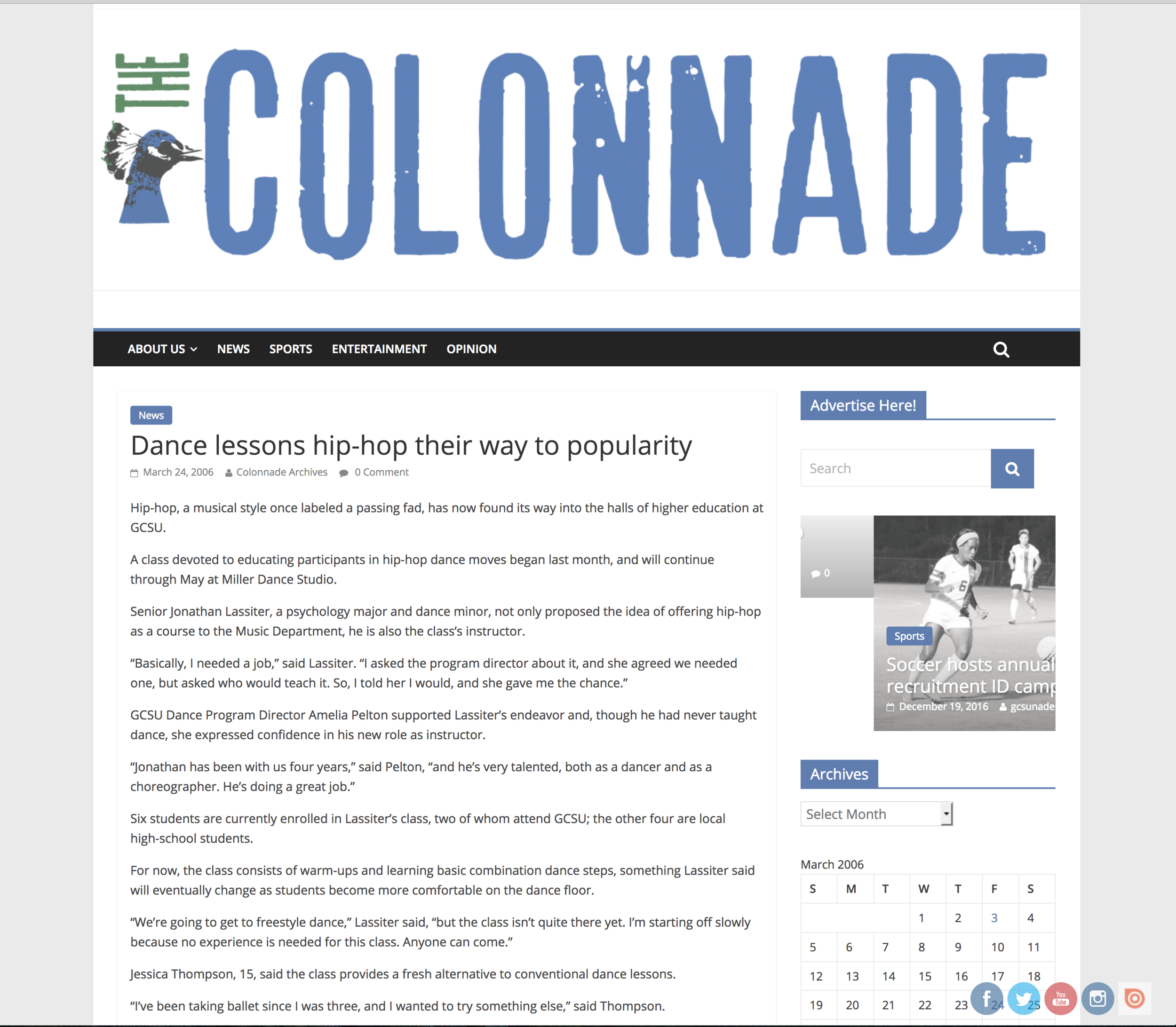 Colonnade Write-up About Hip-Hop Dance Classes
