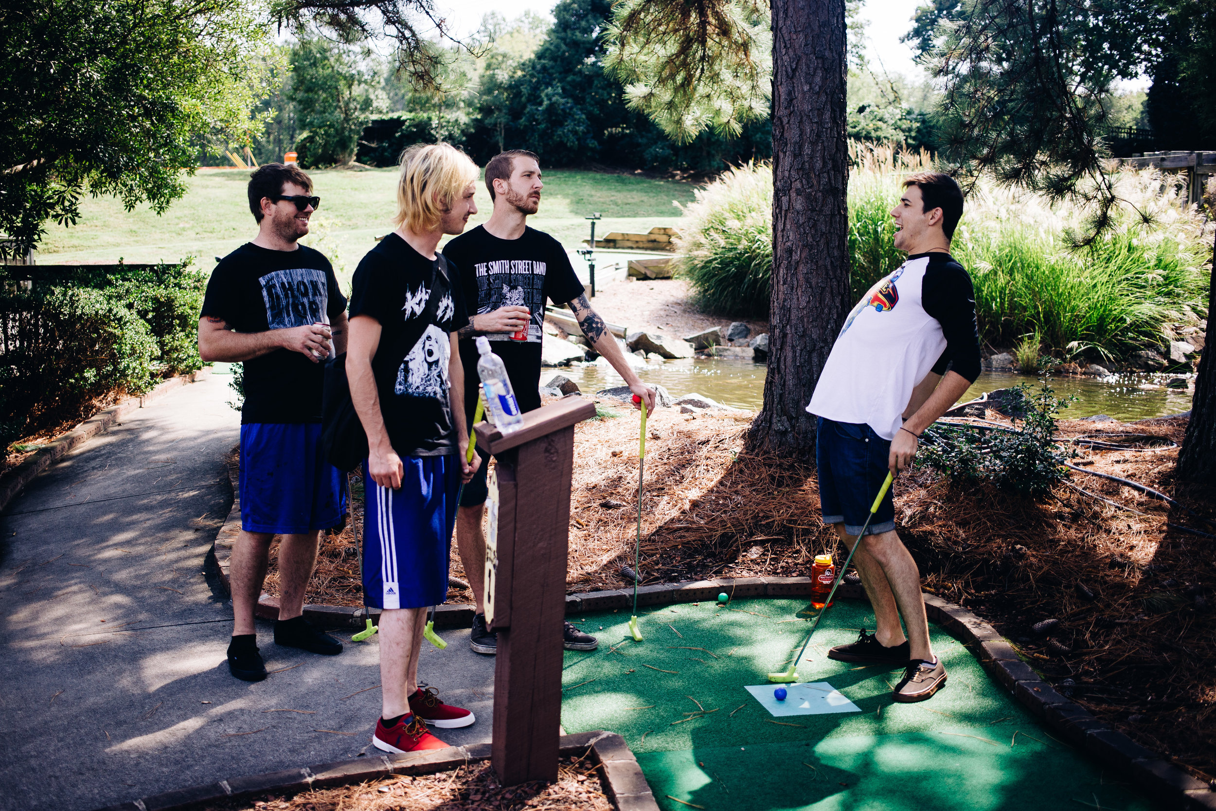 Max approaches the first put on hole one at The Lost Duffer Miniature Golf Course and has strong confidence about his round.