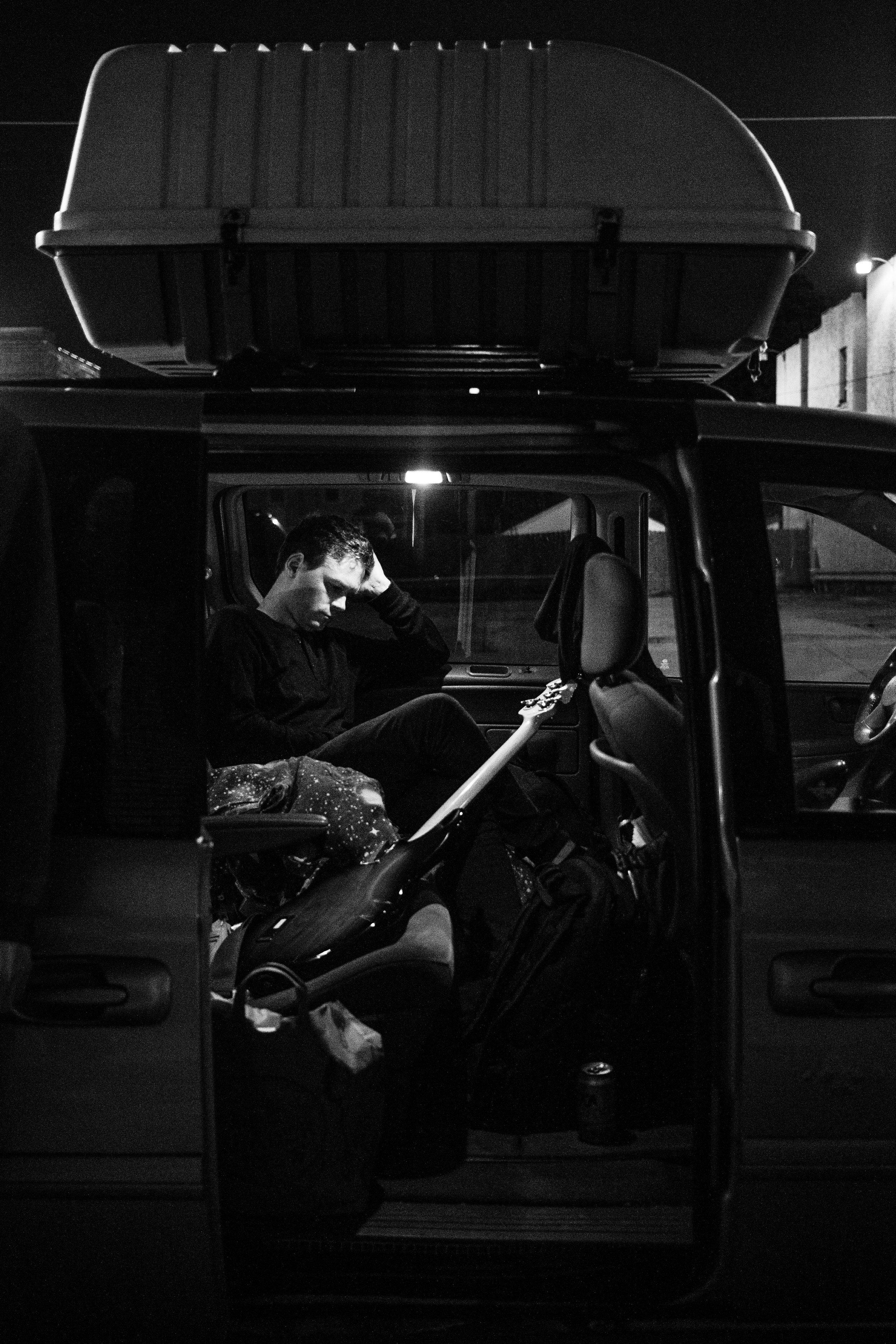 Loren in the van before the show.