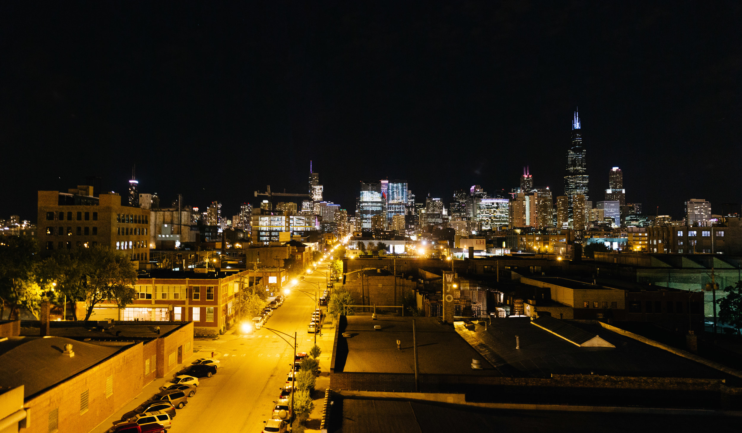 Chicago, Illinois as seen from the back staircase of the Cobra Lounge.