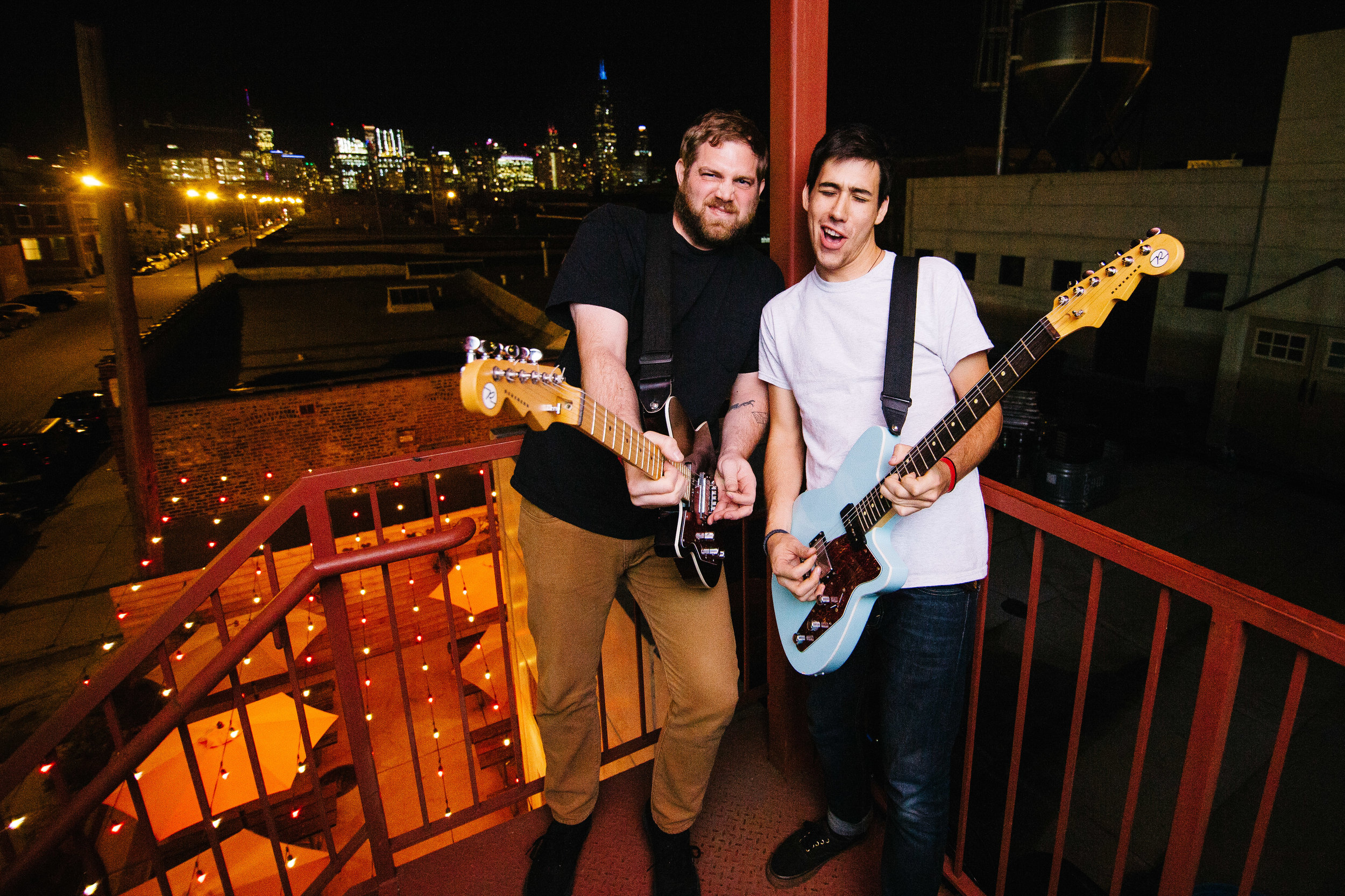 Matt and Max with their Reverend Guitars before the show.