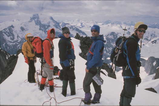 Yuki Fujita, Paul Dale Tom Carey, Richard Doucette and Tom Boydston Summit of Pioneer Peak, Northern Adamants, British Columbia   Photo by Chris Dame