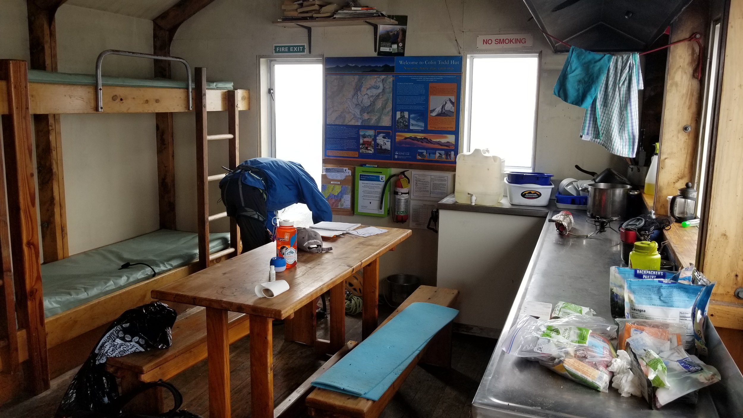 Inside the Colin Todd hut. There are mattresses and camp stove, but you bring your own sleeping bag, fuel, and food.