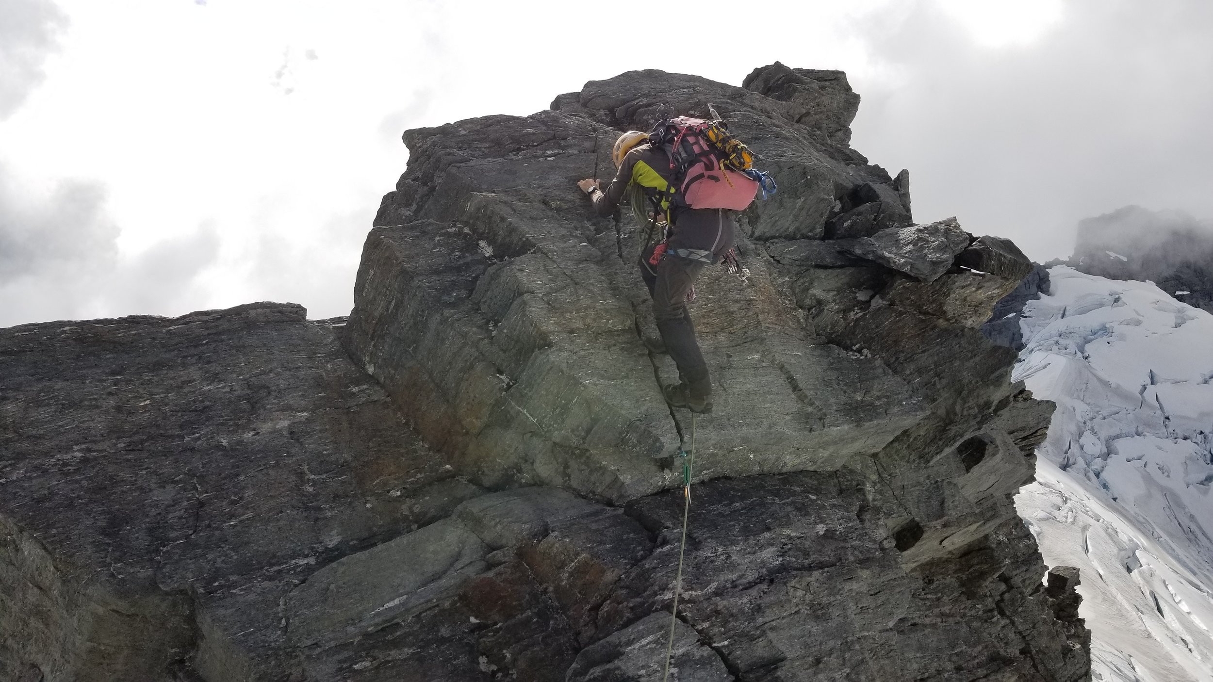 On descent, climbing out of one of the notches