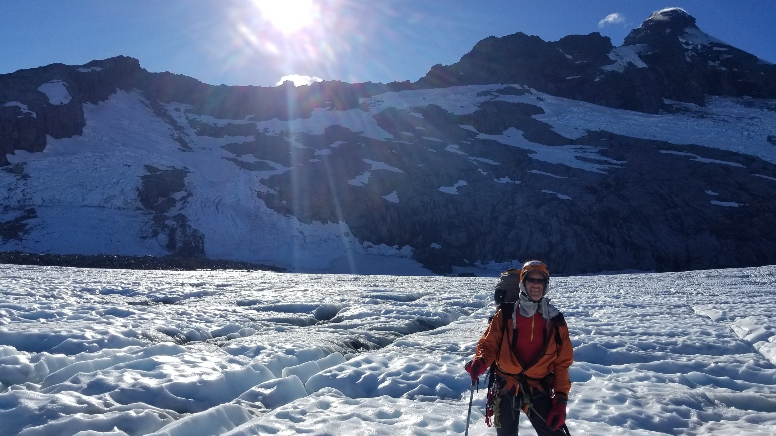 On the Bonar Glacier with the full nw ridge behind