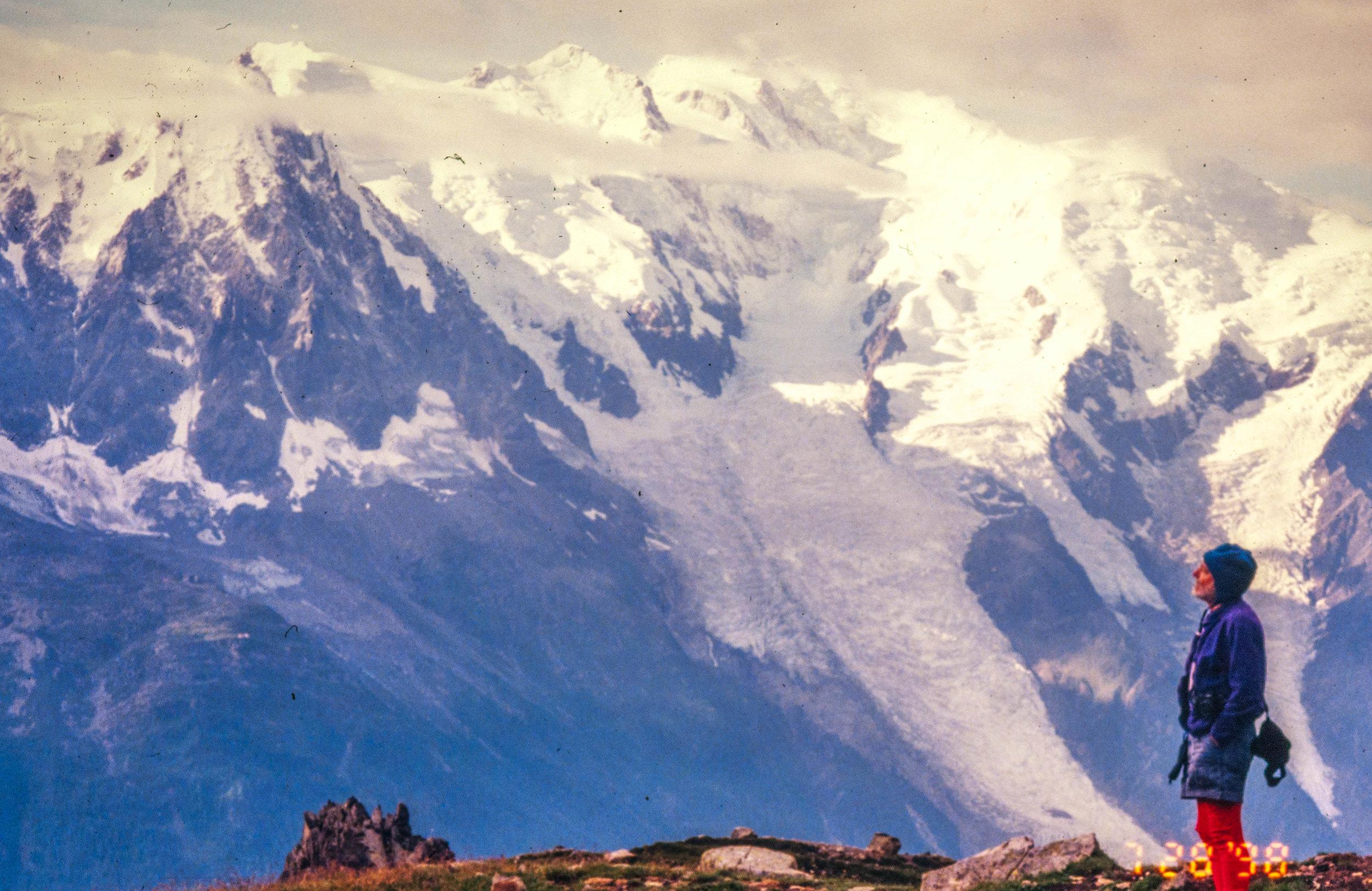 Bill Atkinson looks at the Alps above Chamonix 20 years ago.jpg