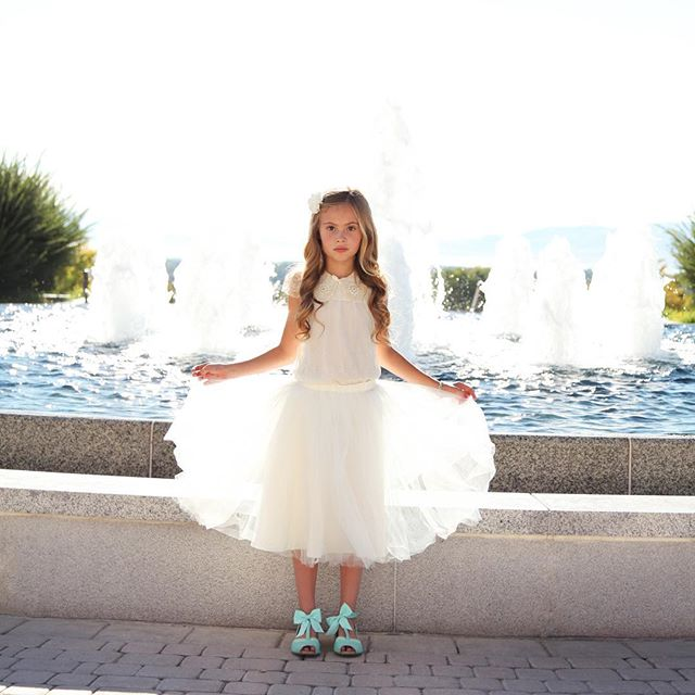 This little beauty is so stunning in our ivory girl tulle skirt! The waist is elastic so that it can be worn longer as your little girl grows up. Shop them all at shoplondongray.com