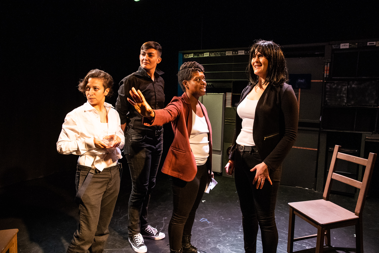 Jackie Rivera, Megan P. Hanley, Jehan O. Young, and Alanna Coby in  Tiny Errors at the End of the Millennium.  Photo by Al Foote III.