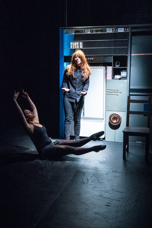 Maria Xiemena Salgado Hinojosa and Janouke Goosen in  Tiny Errors at the End of the Millennium.  Photo by Al Foote III