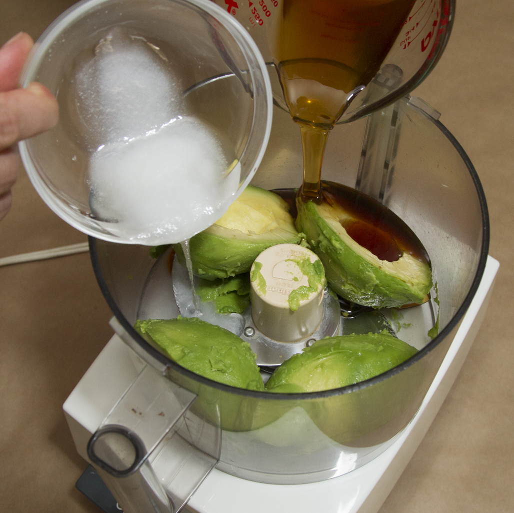 Avocado + wet ingredients.