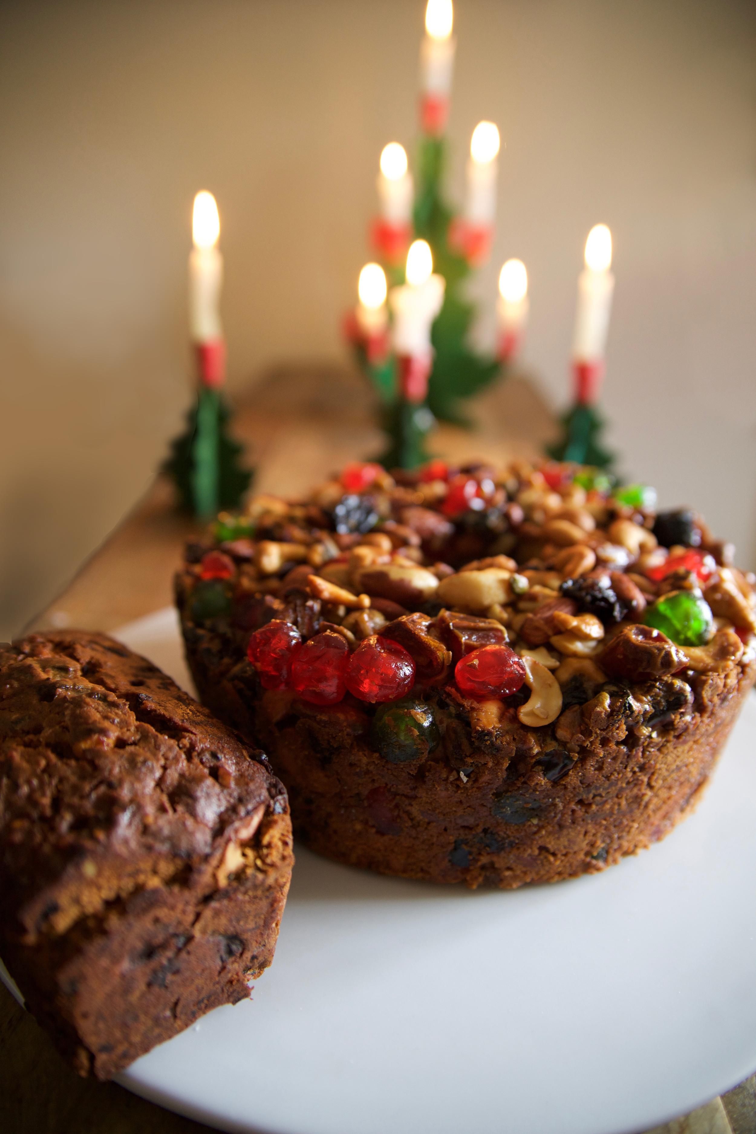 Left: Nigel Slater's Christmas Cake. Right: Good Housekeeping (?) Fruitcake
