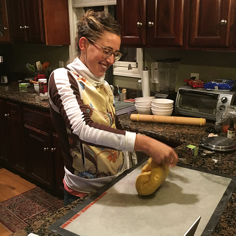 New Swedish Friend Emma, kneading the  lussekatter  dough.