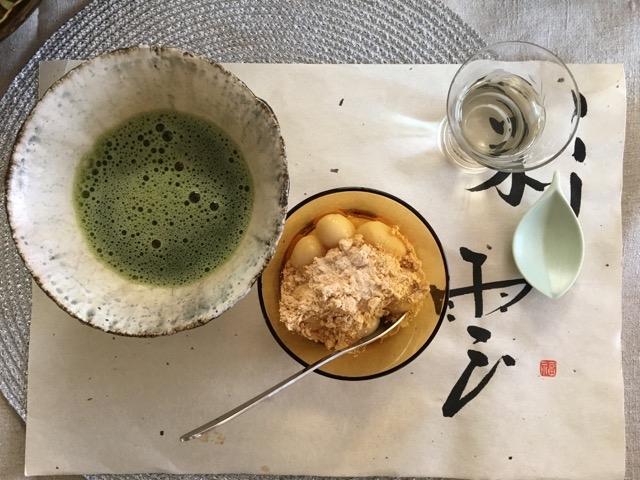 Every meal needs dessert! Matcha tea with fresh mochi, served on a handpainted placemat by our Tokyo host, Keiko.