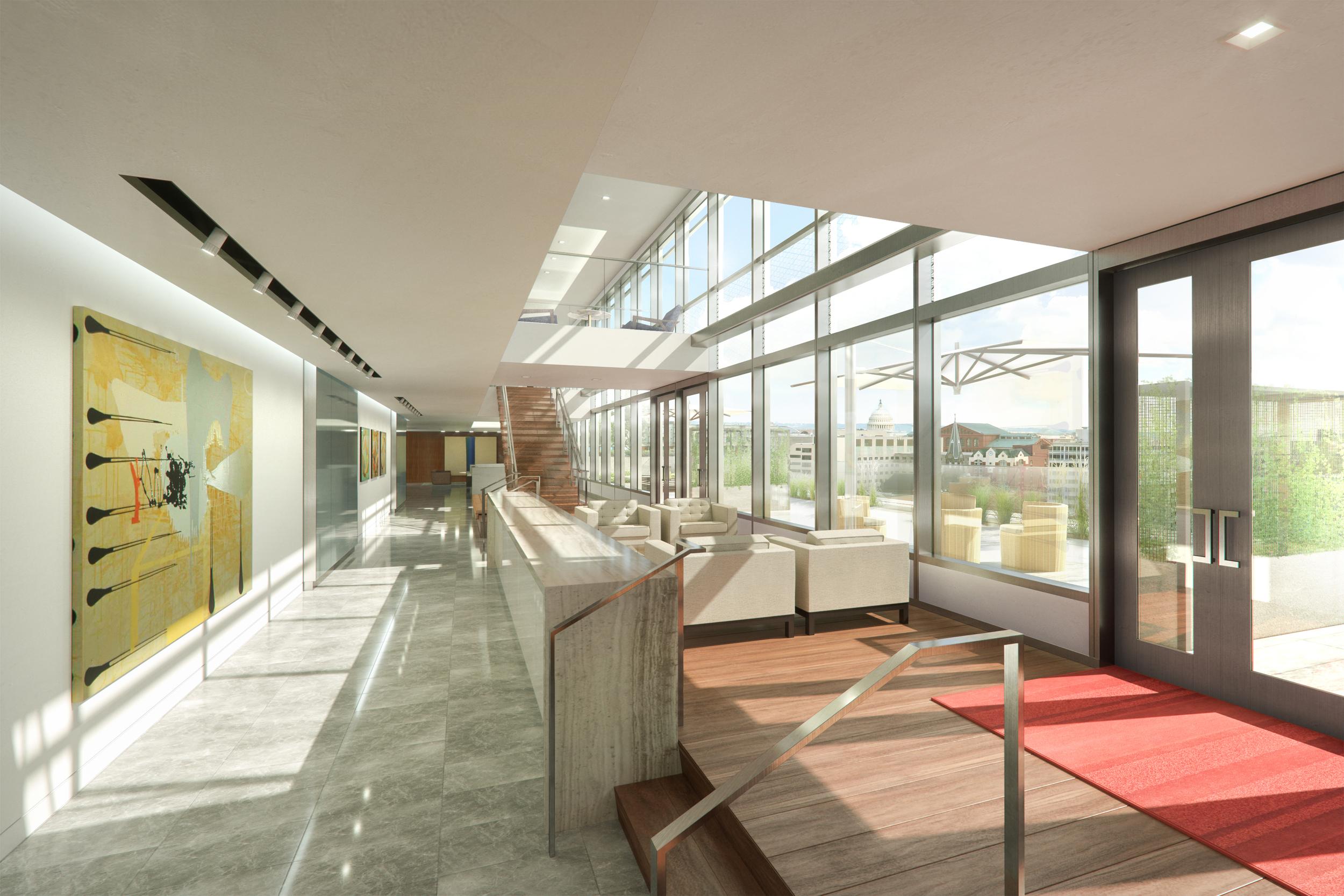 Office Atrium and Roof Deck  Washington, DC |  client: HYL Architecture