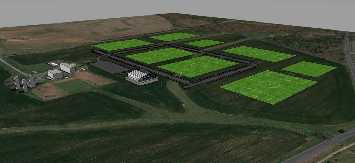 3-D model showing farm land and fields