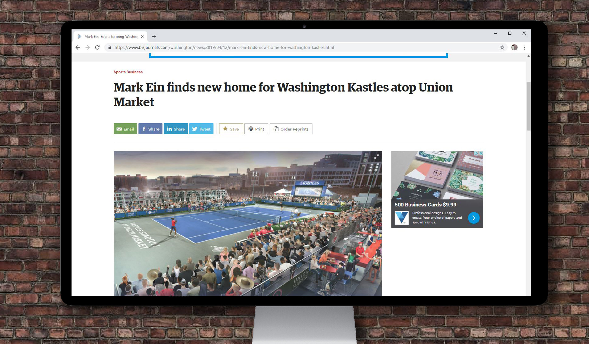 Announcement of the new tennis court on BizJournals.com