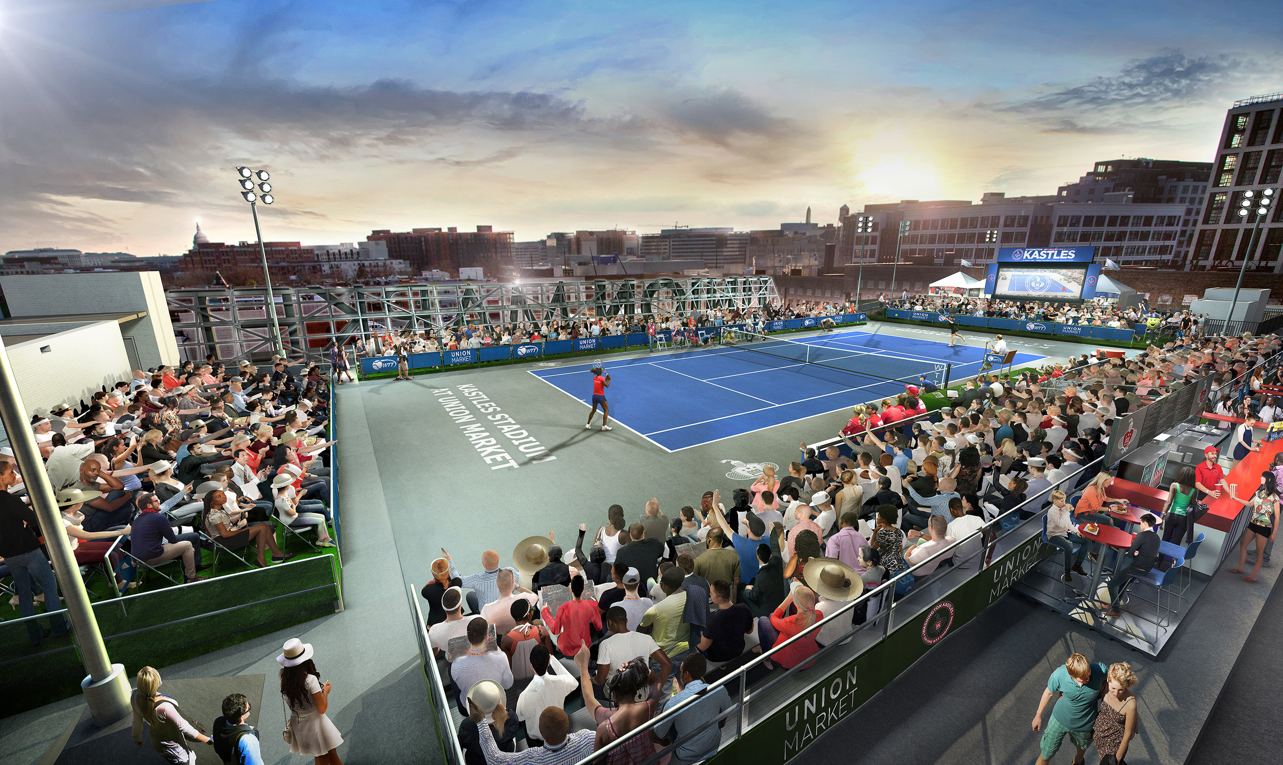 Final view of Kastles' popup court on the roof of Union Market