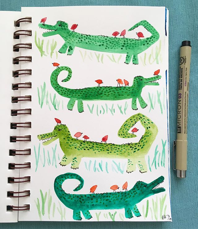 These guys started as amorphous dragons that kinda went the direction of wiener dogs and then came back around as crocodiles... sooo 🤷‍♀️ Crocodogs? Crocs don't really prance around like this... but let's just go with it... k? They seem pleased with their bird friends regardless of what type of critter they truly are. 🐊🐉🐕