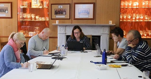 Last weekend at Marist College, Canberra we completed the second of our Marist Educational Leadership Weekends for 2018. 'Leadership of the grey areas' proved to be a key topic of interest. At work here are Loretta, Fintan, Leesa, Megan and Brian. #WeMarists #MaristTertiary