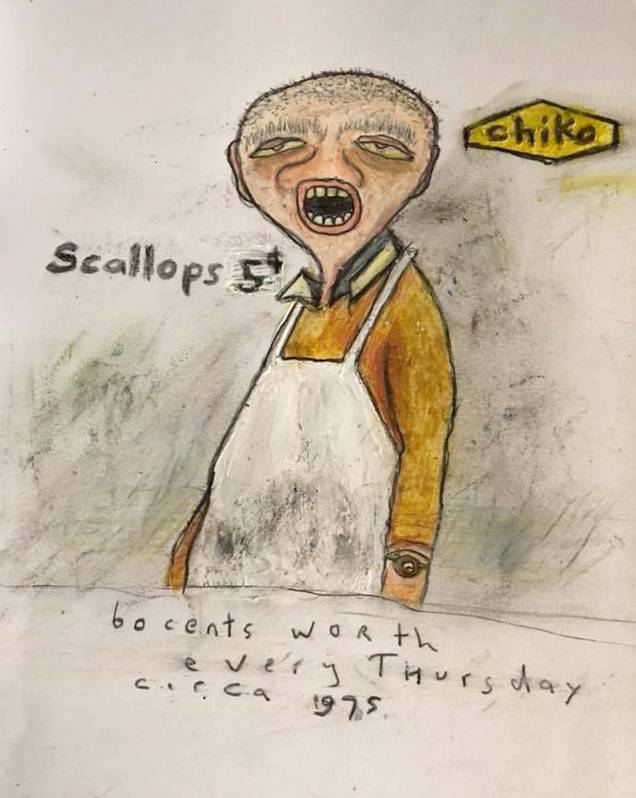 Scallop Man  Every Thursday in primary school I would buy my lunch. Armed with 60 cents I'd walk to the fish and chip shop near school in Southport and spend all my money on potato scallops. Old mate behind the counter would laugh at me and ask where I put it because I was so scrawny buying 12 scallops. He'd always give me a baker's dozen. Nice old bugger.