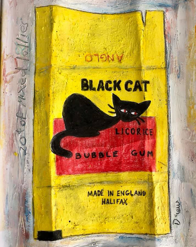 "Black Cat Bubble Gum  ""Can I please have 4 Black Cats, 2 Cobbers, a Redskin, 4 Caramel Buds and 2 Snakes."" ""That'll be 20 cents thanks love.""  P.S. Word on the street is that Black Cats might be making a comeback."