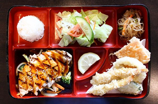 New Lunch Bento 🍱 only $13.95! 🤤 chicken teriyaki, rice, salad, seasonal side and tempura 🤤  Dine in or Take out!