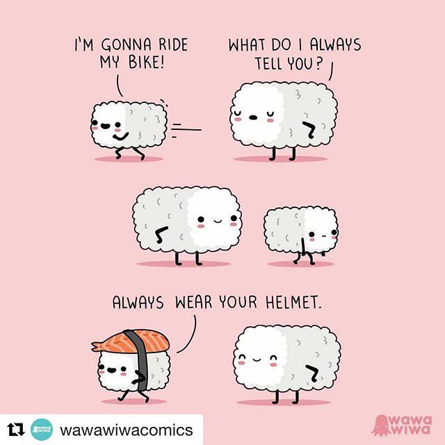So cute!! #Repost @wawawiwacomics with @get_repost ・・・ #Wawawiwa #sushi #food #kawaii #webcomic #comics #bicycle #bike