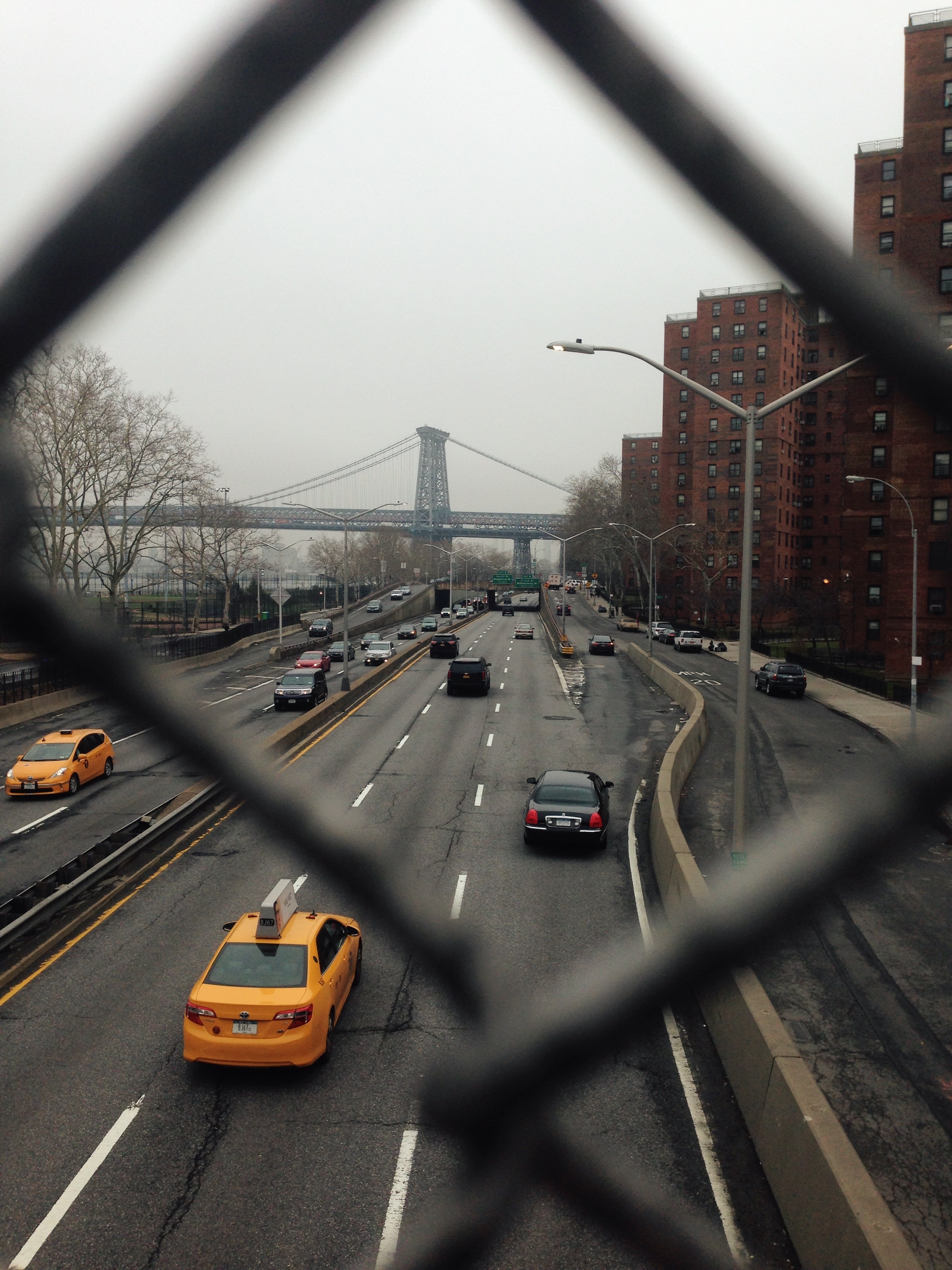 Hazy view of the Williamsburg Bridge from one of my very first runs.