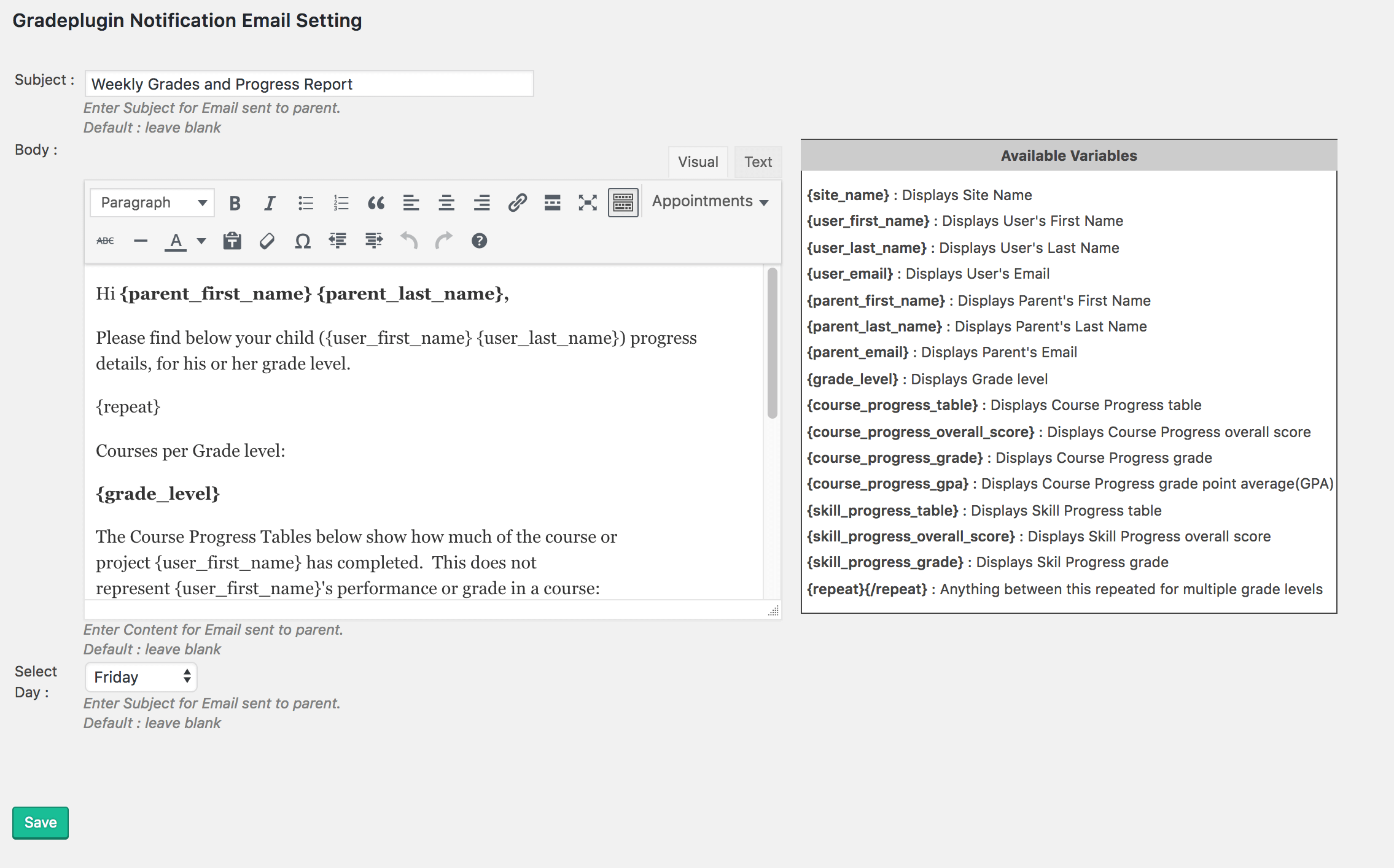 Custom email notifications