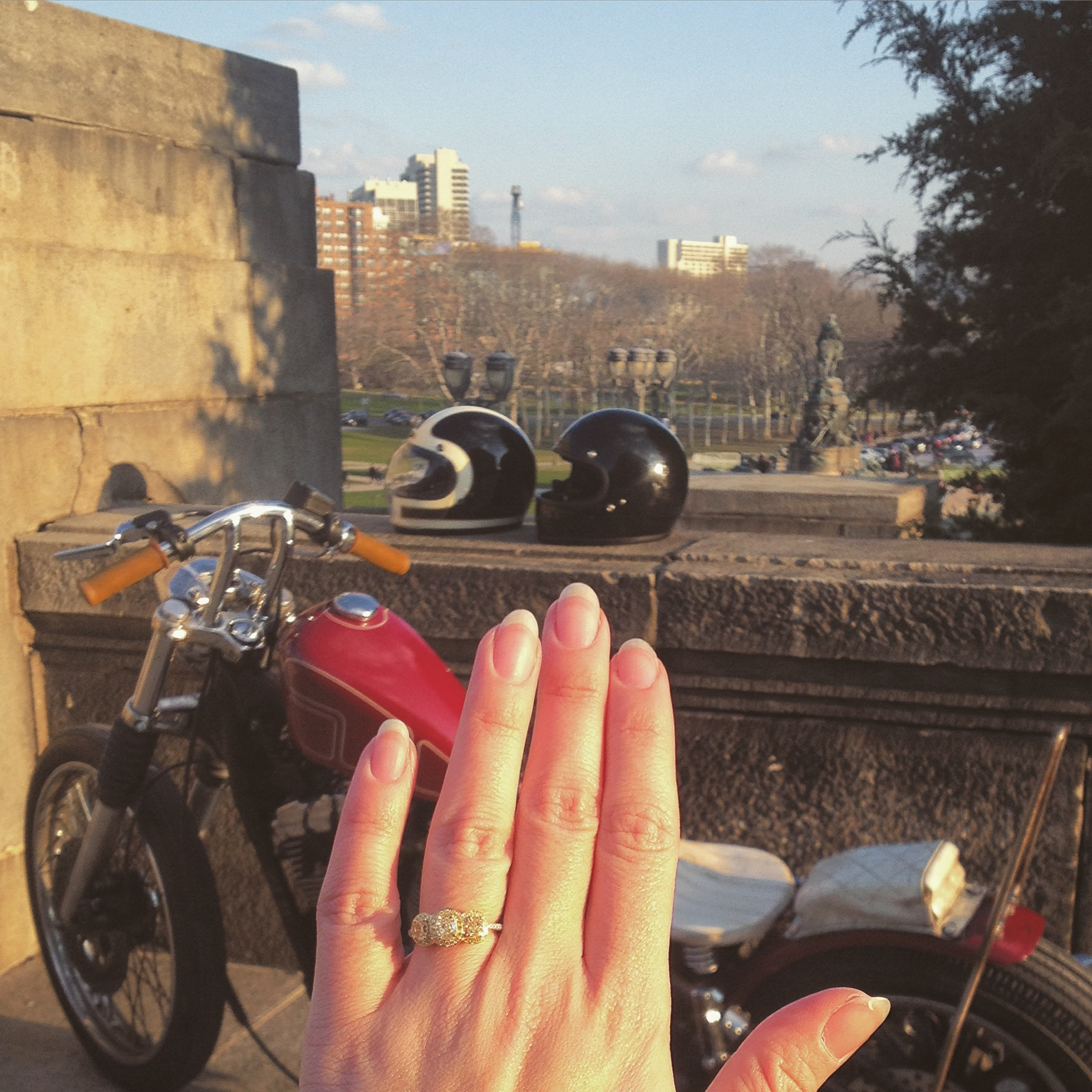 He asked me to go for a ride on the same bike we had our first date on, we ended our ride at the same place, and he asked me to marry him...