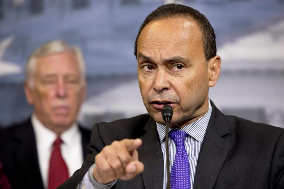 In this Jan. 12, 2016, photo, Rep. Luis Gutierrez, D-Ill., speaks during a news conference about immigration raids