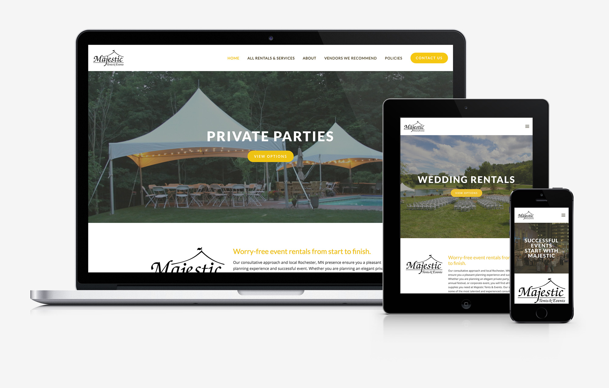 Majestic Tents and Events responsive website design by PixelPress