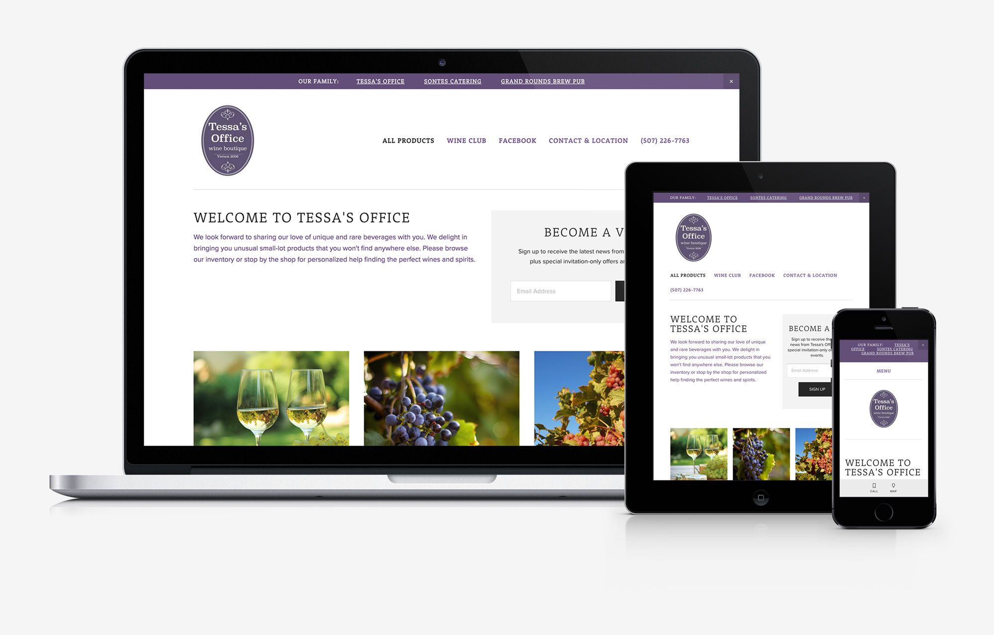 Tessa's Office responsive website design mockup