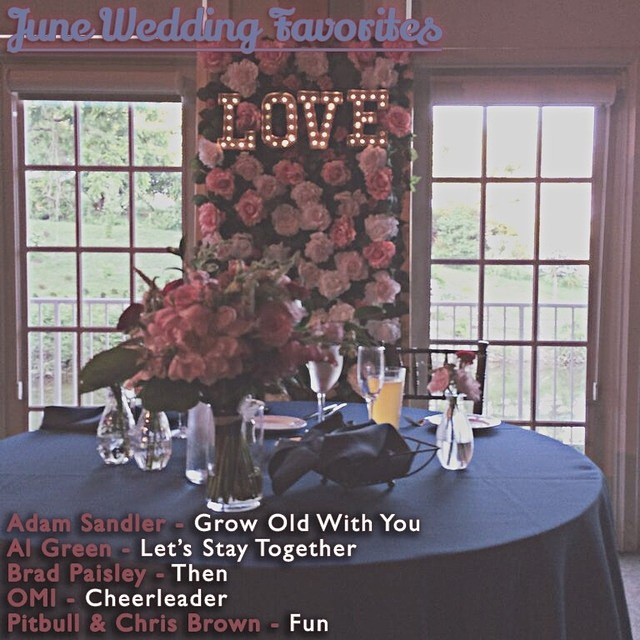 Just updated my blog through June.  Here's some of the most requested/ my favorite songs from the month. Grow Old With You was in almost every one of my weddings.