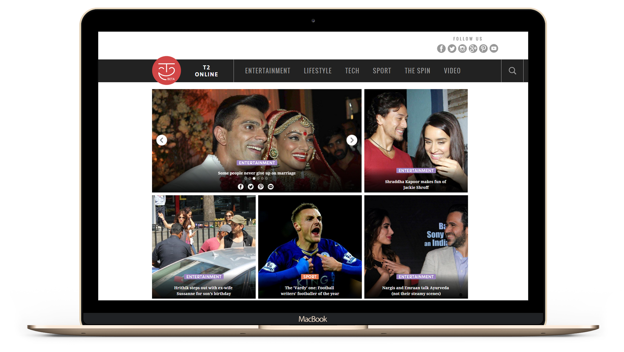 t2online - a responsive Entertainment News website - by Kiba Design
