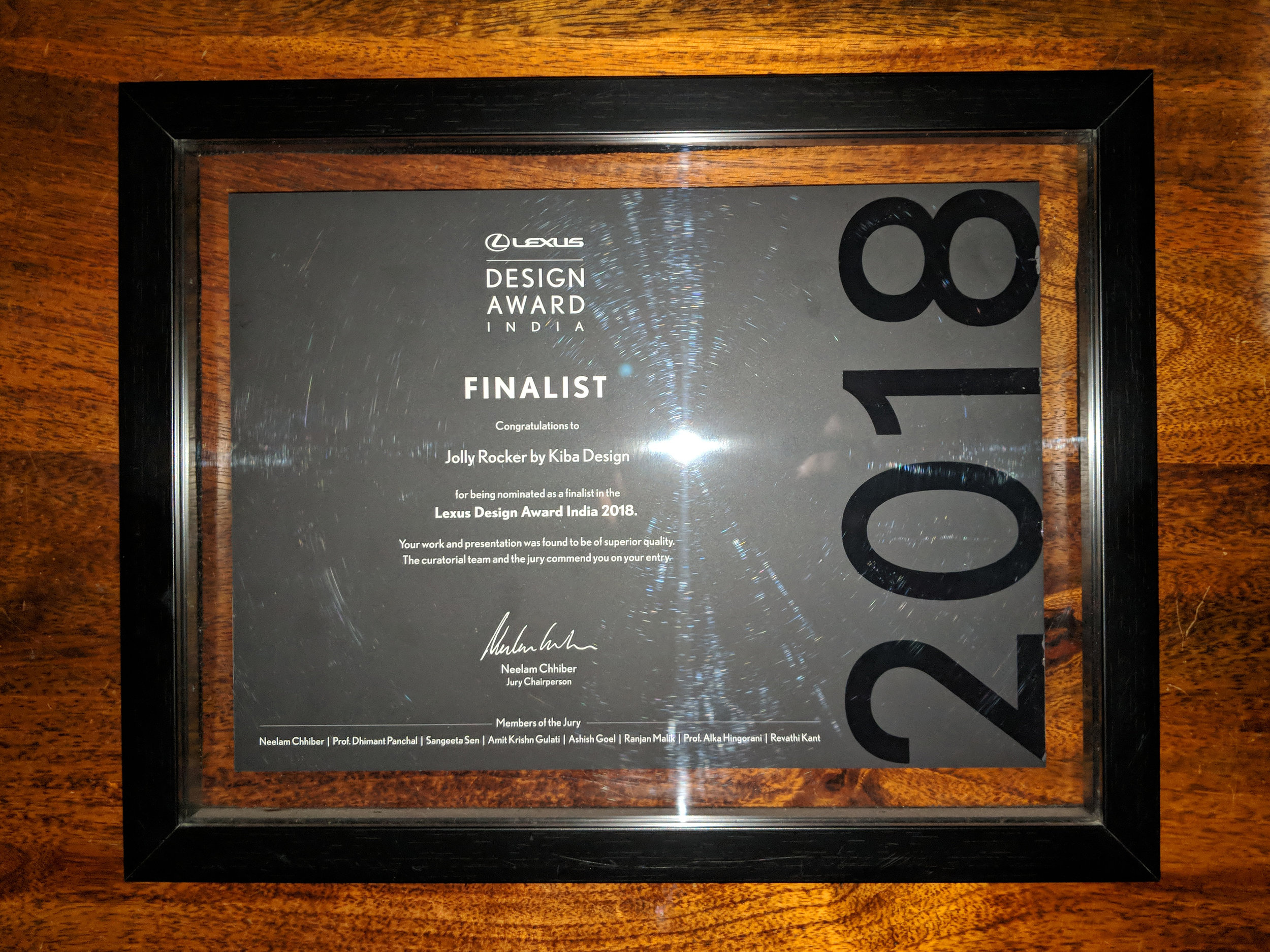 Lexus India Awards 2018 Finalist plaque - Kiba Design