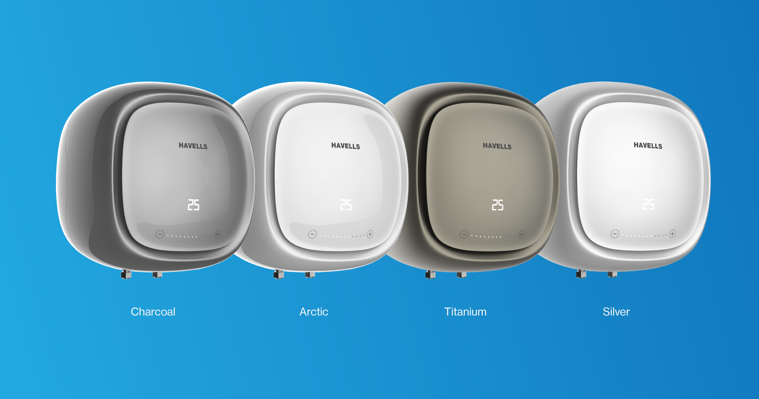 Colour, Material, and Finish options for the Adonia water heater