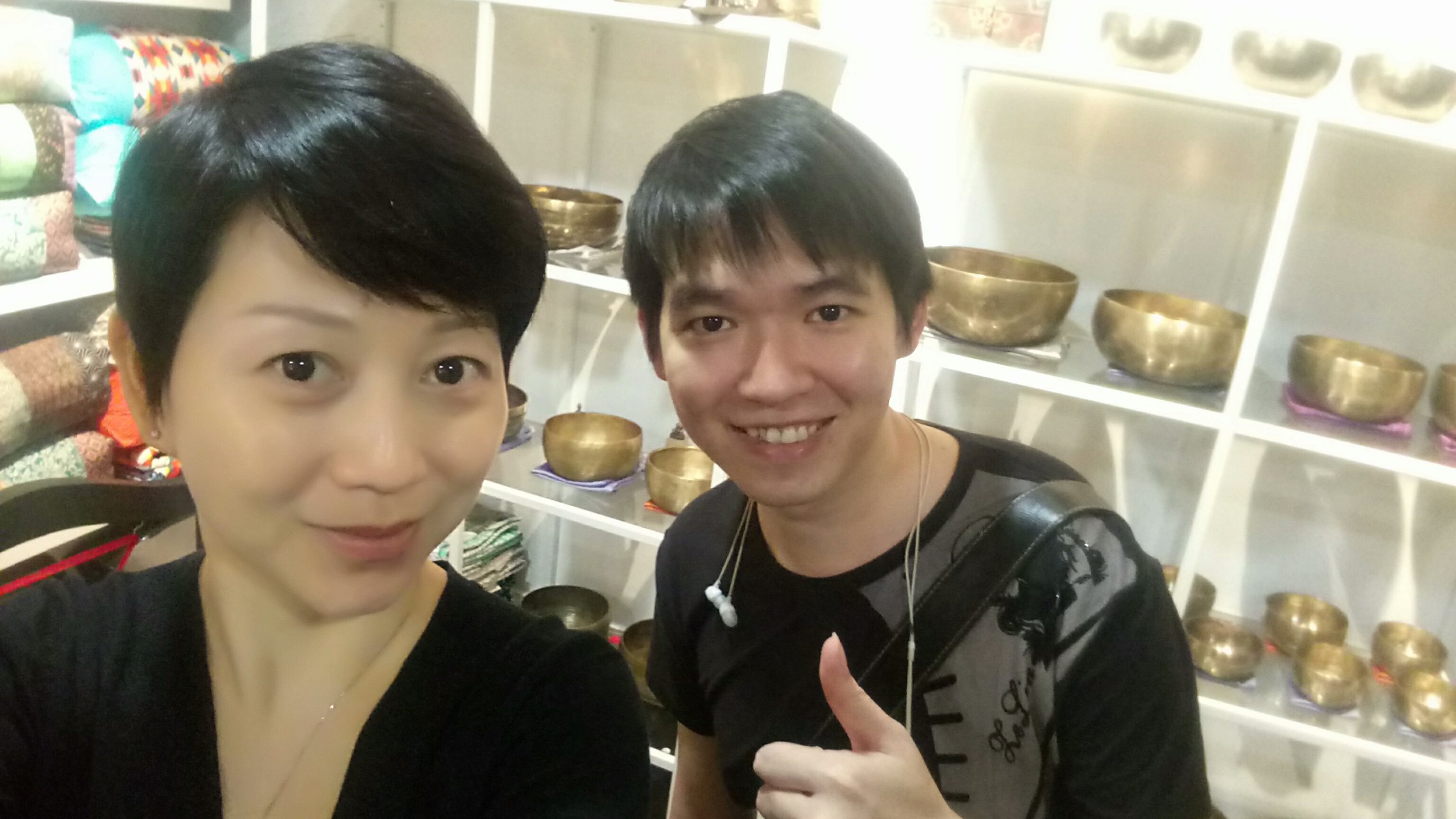 Lawrence and I at the Singing Bowl Gallery
