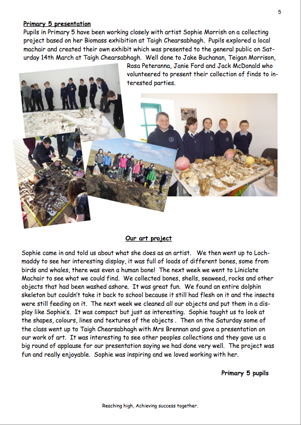 Extract from Balivanich Primary School Newsletter, 2015