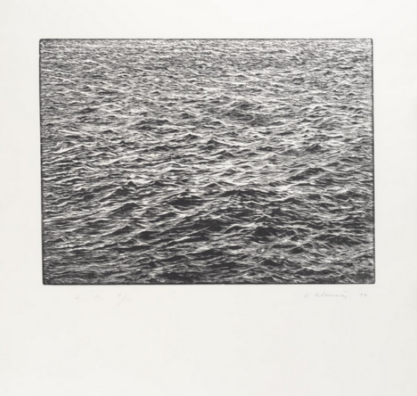 Ocean Surface Woodcut,  woodcut, 1992, on Whatman 1953 paper, printed in collaboration with master printer Leslie Miller and published by The Grenfell Press, New York, edition of fifty plus ten artist's proofs © Vija Celmins