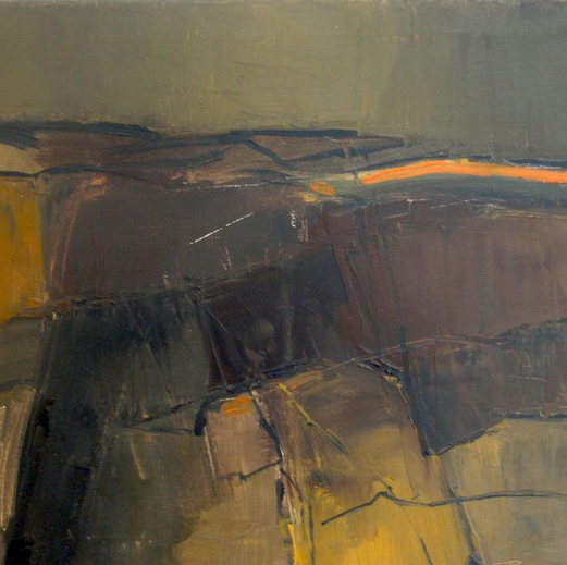 Uist peat bank, (detail), Oil on Canvas, 2007 (destroyed by the artist 2008)