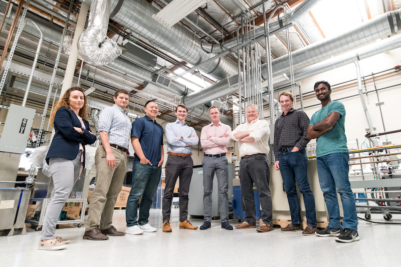 The Nelumbo team, from left to right: Maria Tzedaki, senior research scientist; Nick Montes, ARE fellow; Michael Ung, process engineer; Liam Berryman, CEO; Lance Brockway, CTO; Dave Walther, SVP, engineering; Brian Sweeney, process engineer; Vishnu Udayagiri, Intern. Not pictured: James Ma, director of products
