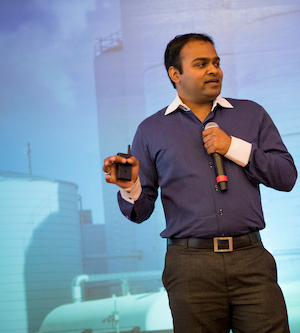 Deepak Dugar presenting atCyclotron Road's 2018 Activate technology showcase