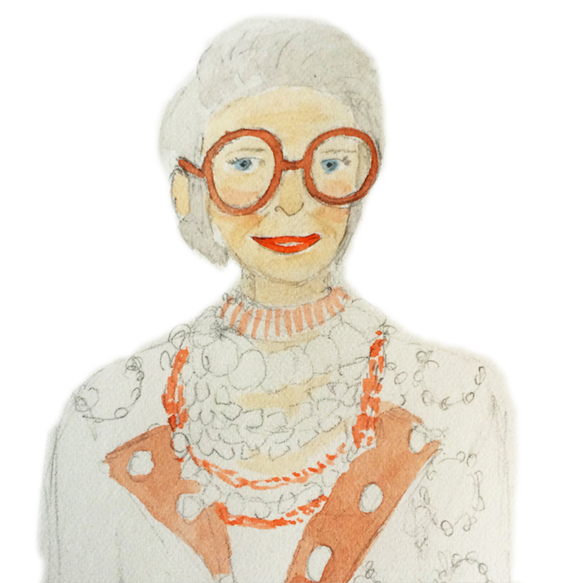 My sketch in progress of Iris Apfel.