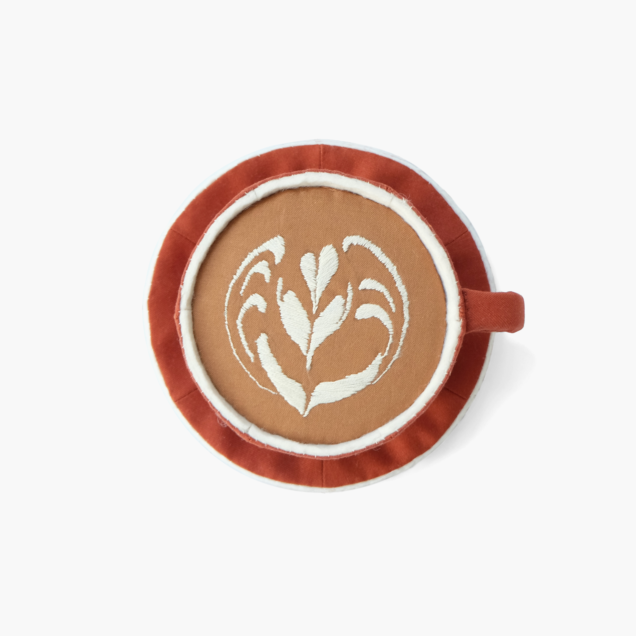 Baristas with Skills  Latte with leaf art from The Mill   Foam, fiberfill, felt, cotton cloth, embroidery floss 3.125 x 6 x 6 in 2015