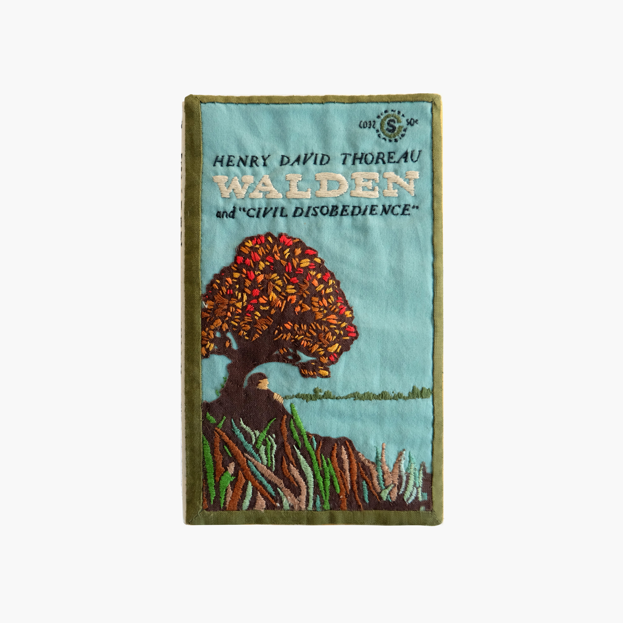 Escapist Reading    Vintage Signet Classic Paperback of Thoreau's Walden   Felt, cotton cloth, embroidery floss 7 × 4.25 × 0.5 in 2014