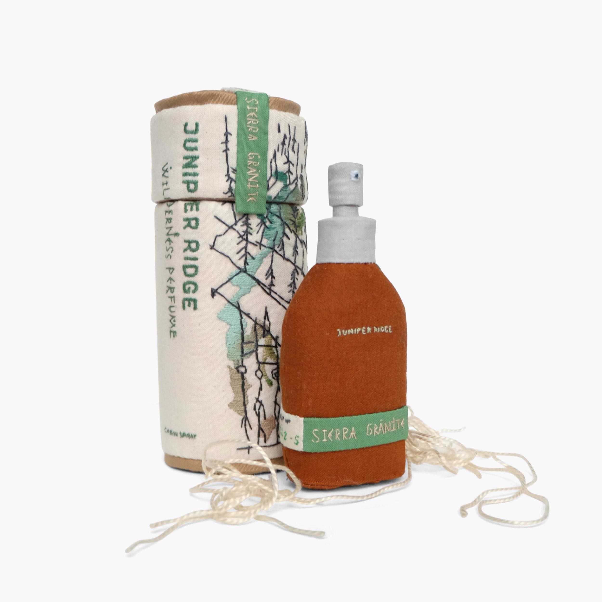 Smells Like Spirit Animal    Cabin Spray in Sierra Granite from Juniper Ridge   Fiberfill, cotton cloth, embroidery floss 6 × 2.25 × 2.25 in 2014