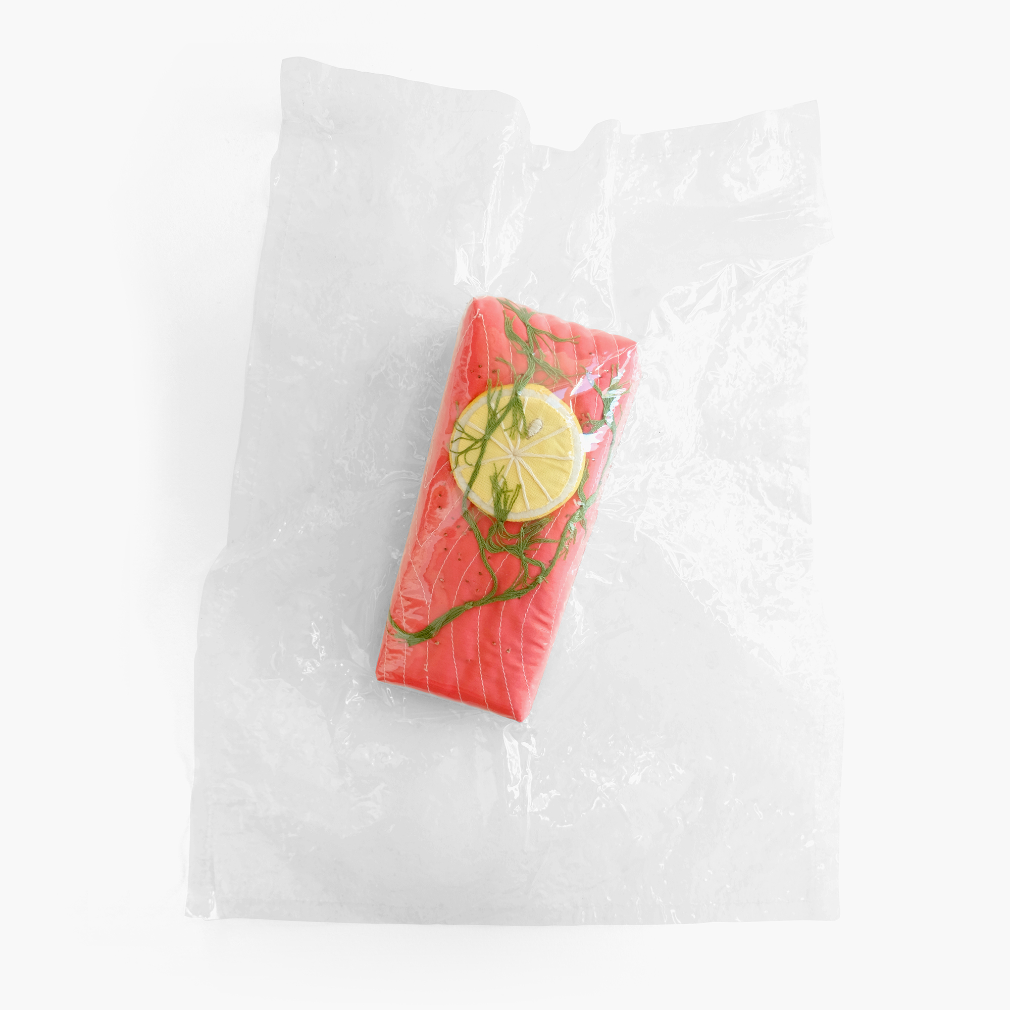 Sous Vide for One    Salmon with lemon   Foam, felt, cotton cloth, embroidery floss, vinyl 2 x 14 x 11 in 2014